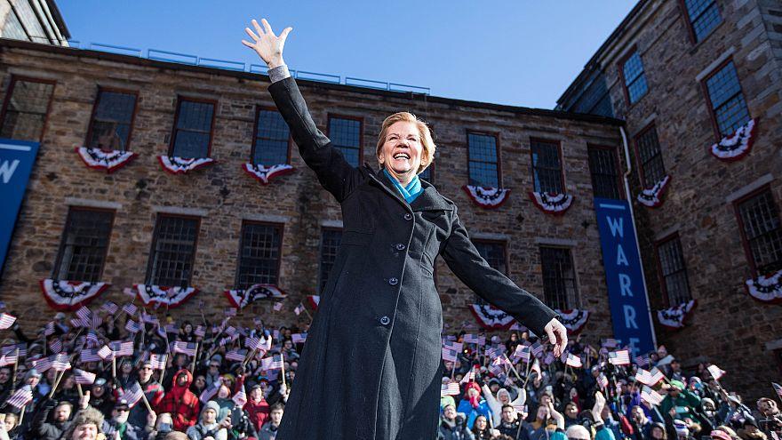 Image: Sen. Elizabeth Warren, D-Mass., announces her bid for President of t