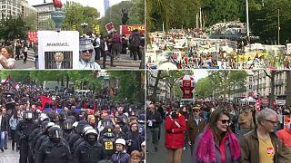 راهپیمایی های روز جهانی کارگر در آمریکا و کشورهای اروپایی