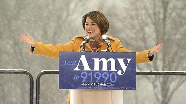 Image: Sen. Amy Klobuchar announces her run for president in Boom Park, Min