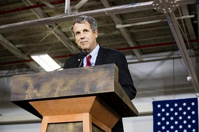 Sen. Sherrod Brown, D-Ohio, speaks at a campaign rally in Cleveland on June 13, 2016.