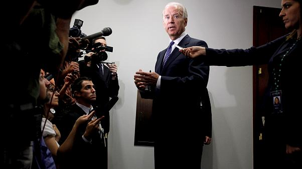 Image: Vice President Joe Biden speaks with reporters after a meeting with