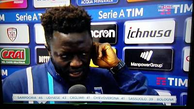 Ghana's Muntari penalized for walking off field after racist chants in Italy