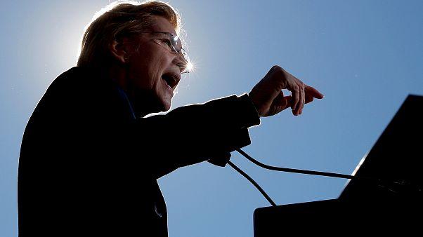 Image: Sen. Elizabeth Warren, D-Mass., speaks at a rally launching her bid