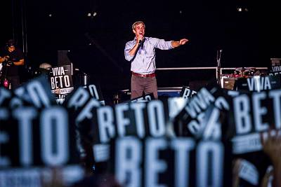 Rep. Beto O\'Rourke, D-Texas, speaks at a campaign rally in Austin on Sept. 29, 2018.