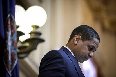 Virginia Lt. Governor Justin Fairfax presides over the Senate at the Virginia State Capitol, Feb. 7, 2019, in Richmond.