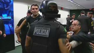 Prison guards in Brazil scuffle in parliament pensions protest