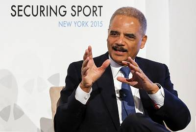 Former Attorney General Eric Holder speaks on Day 2 of Securing Sport 2015 at Harold Pratt House in New York on April 11, 2015.