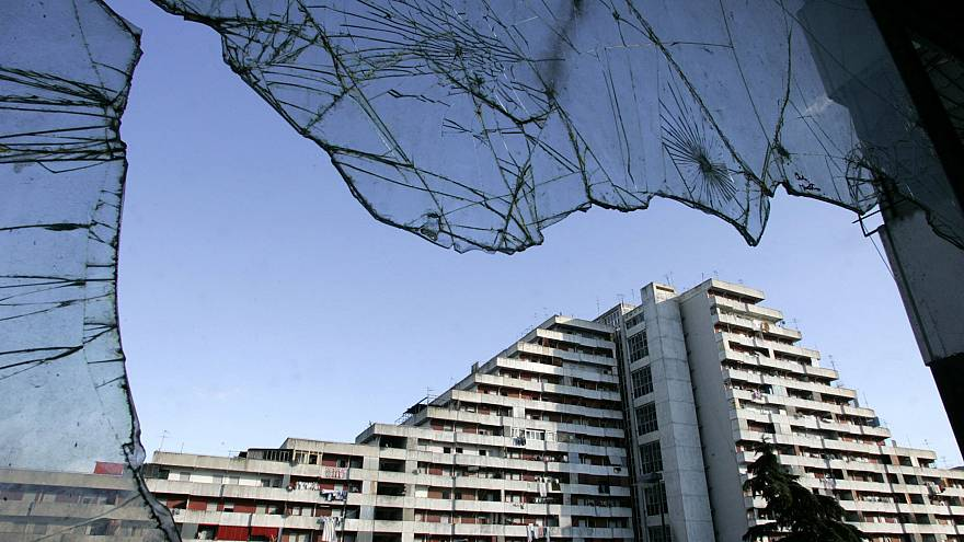 Image: One of the buildings of Naples Scampia neighborhood, southern Italy