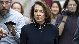 Image: Speaker of the House Nancy Pelosi speaks to reporters before a Democ