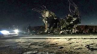 Image:  A Revolutionary Guards bus was blown up in southeastern Iran on Feb