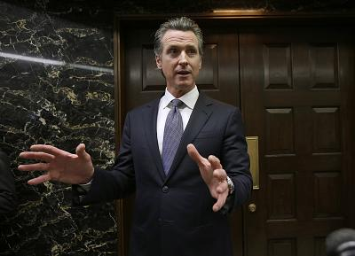 California Gov. Gavin Newsom discusses the results of an investigation that found Pacific Gas & Electric was not responsible for the Tubbs Fire, in Sacramento, Calif on Jan. 24, 2019.
