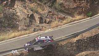 Rally driver involved in incredible near miss as his car skids off a cliff-top road