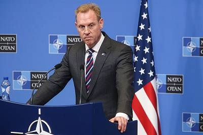 Acting U.S. Defense Secretary Patrick Shanahan gives a press conference following the North Atlantic Council of Defense Ministers, at the NATO headquarters in Brussels, on Feb. 14, 2019.