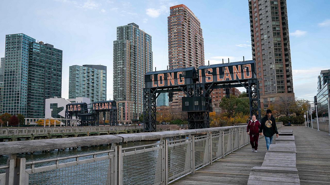 Image: A view of the waterfront of Long Island City in the Queens borough o