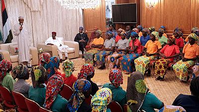 Wives of Buhari, Osinbajo meet 82 Chibok Girls in Abuja