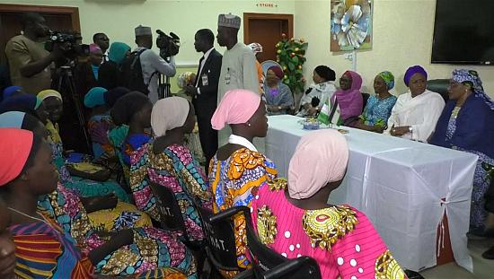 Nigeria: President's wife meets freed Chibok girls [no comment]