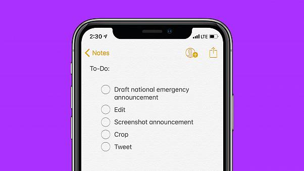 Photo illustration of the notes app on a phone.