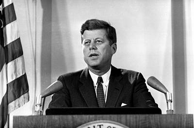President John F. Kennedy reports to the nation on the status of the Cuban crisis from Washington on Nov. 2, 1962.