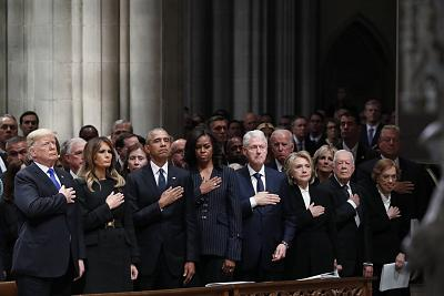 From left, President Donald Trump, first lady Melania Trump, former President Barack Obama, former first lady Michelle Obama, former President Bill Clinton, former Secretary of State Hillary Clinton, and former President Jimmy Carter and former first lady Rosalynn Carter attend the state funeral of former President George H. W. Bush at the Washington National Cathedral on Dec 5, 2018.