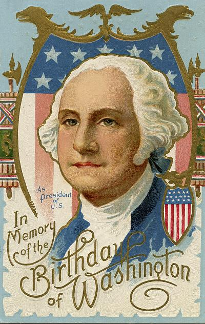 Illustration for postcard for Washington\'s birthday featuring image of President George Washington with stars and stripes.