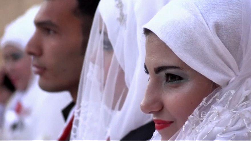Halep'te toplu nikah töreni