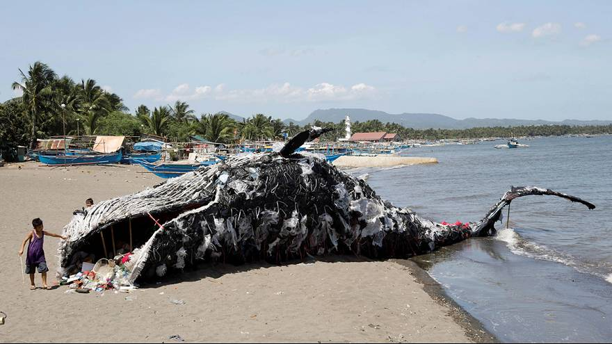 Dead whale sculpture raises awareness on plastic waste