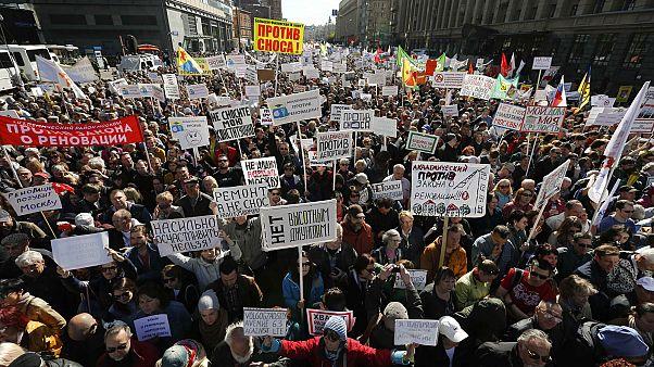 Μόσχα Διαδήλωση κατά του γκρεμίσματος κτιρίων της Σοβιετικής εποχής