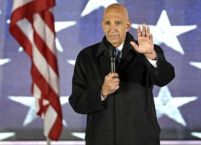 """Inaugural Committee chairman Tom Barrack speaks at at a pre-Inaugural """"Make America Great Again! Welcome Celebration"""" at the Lincoln Memorial in Washington on Jan. 19, 2017."""