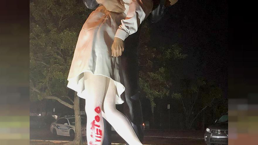 "Image: Vandals spray painted ""#MeToo"" on the Unconditional Surrender statue"