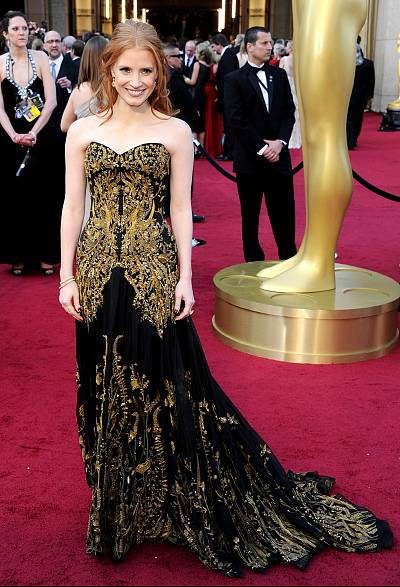 Jessica Chastain looking gorgeous in gold embroidery in 2012.