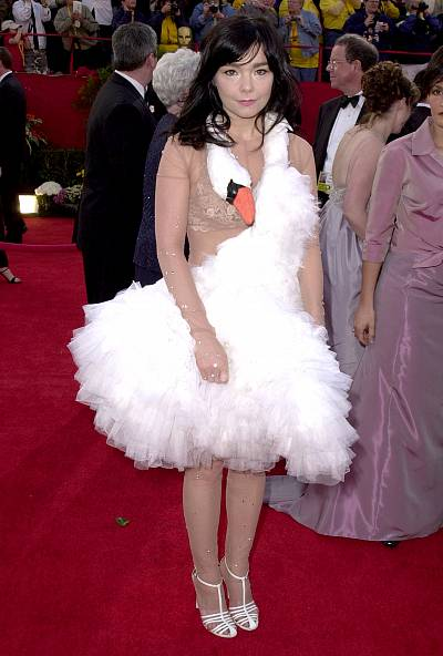Bjork in her iconic swan dress in 2001.