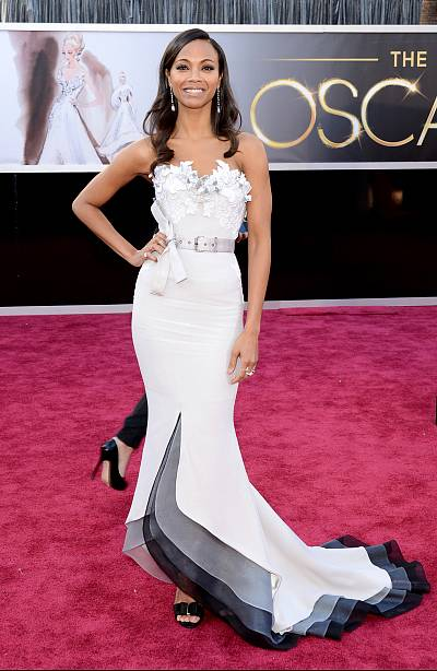 These subtle colors on Zoe Saldana\'s gown are simply lovely.