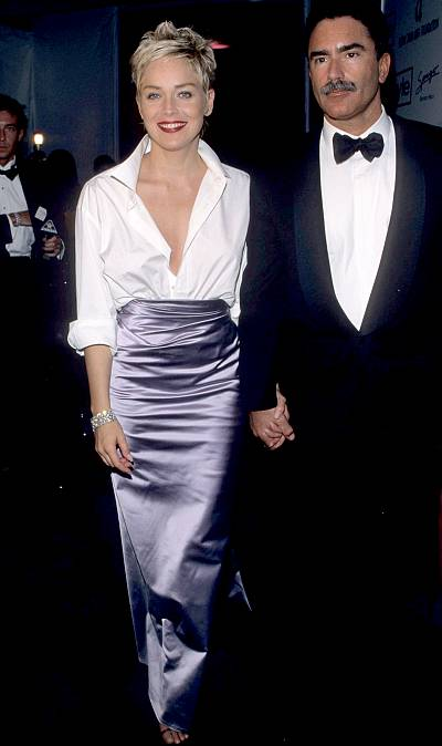 Sharon Stone wearing Vera Wang and a Gap shirt to the Oscars in 1998.