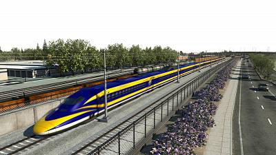 An illustration of California\'s high-speed rail project.