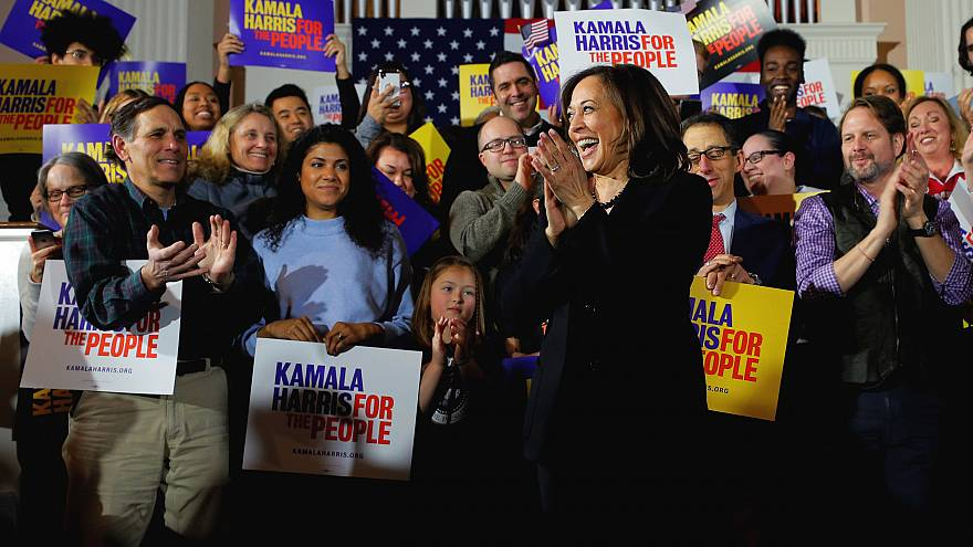 Image: Sen. Kamala Harris, D-Calif., takes the stage during a campaign even
