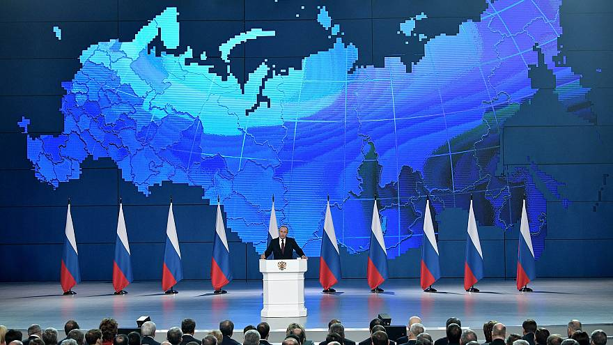 Image: Russian President Vladimir Putin addresses the Federal Assembly in M