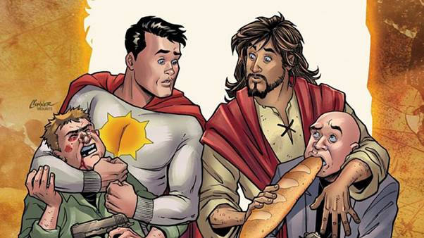 "Image: Sun-Man and Jesus Christ in DC Comics' ""Second Coming."""