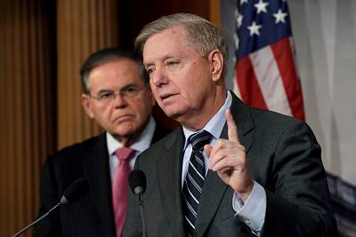 Senators Lindsey Graham, R-SC, and Bob Menendez, D-NJ, hold a news conference on the death of Saudi dissident Jamal Khashoggi and the humanitarian crisis in Yemen, on Capitol Hill on Dec. 12, 2018.