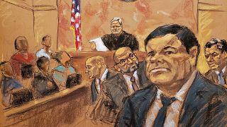 "Image: The accused Mexican drug lord Joaquin ""El Chapo"" Guzman in Brooklyn"