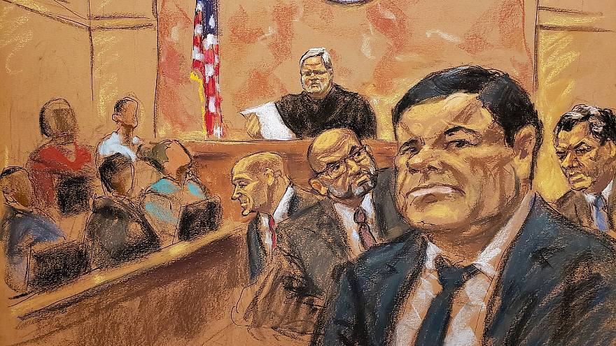 "Image: The accused Mexican drug lord Joaquin ""El Chapo"" Guzman in Brooklyn"