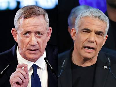 Parties led by Benny Gantz, left, and Yair Lapid had teamed up ahead of Israel\'s April 9 election.