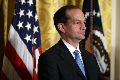 Secretary of Labor Alex Acosta at an event in the East Room of the White House on Oct. 6, 2017.