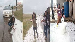 Rare hailstorm gives Zambians a snowy feel in May