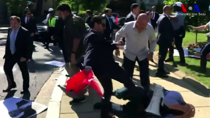 Clashes outside Turkey's Washington embassy