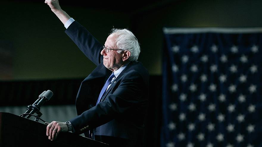 Image: Sen. Bernie Sanders, I-VT, speaks to the crowd during a campagin ral