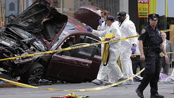 Car ploughs into pedestrians in New York's Times Square