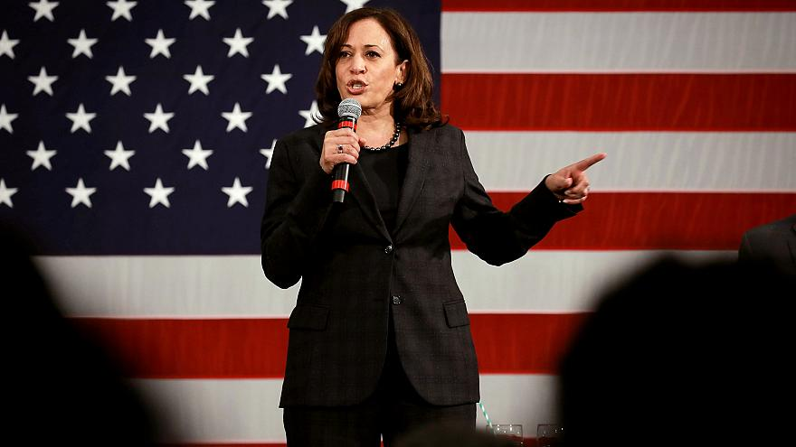 Image: Sen. Kamala Harris, D-Calif., speaks at a campaign event in North Ch