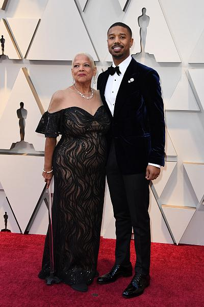 """Black Panther"" star Michael B. Jordan brought his mother, Donna Jordan."