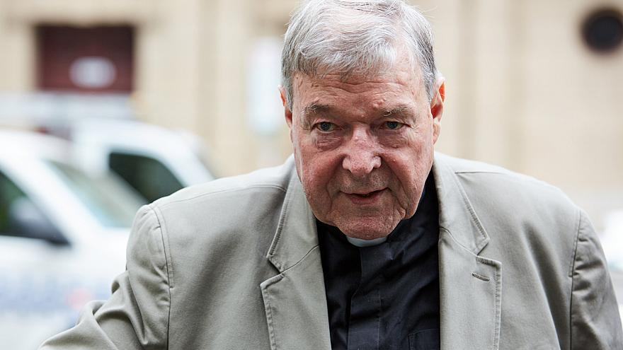 Image: Cardinal George Pell arrives at the County Court in Melbourne, Austr