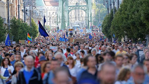 Hungarians hold peaceful protest against PM Viktor Orban
